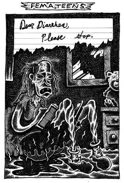 A page from Clotfelter's new mini-comic Pube Smoke.buschcan[at]hotmail.com for ordering info.