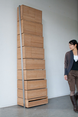 Staircase by Danny Kuo. A storage unit that becomes a staircase for reaching the higher shelves. I want this.