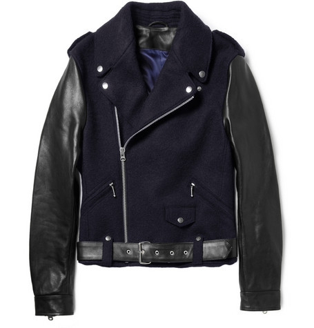Leather sleeved wool biker jacket, Acne.