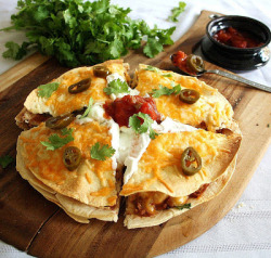 gastrogirl:  3-layer chicken and bean quesadilla.