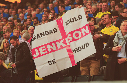 Fans hold up a banner for Carl Jenkinson during the international friendly match between Sweden and England at the Friends Arena on November 14, 2012 in Stockholm, Sweden. (Photo by Michael Regan/Getty Images)