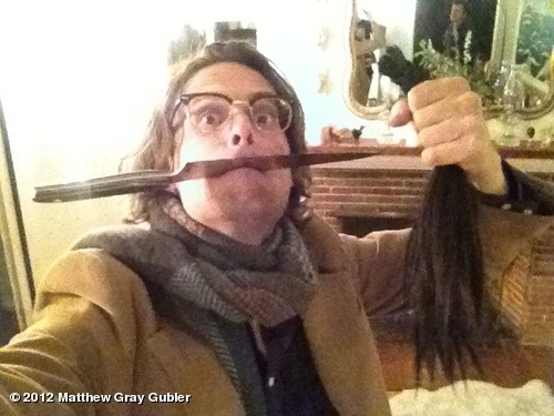 gublernation:  locks of love ponytail hunter (yes i did cut it with a knife) @dahlism now looks like Gillian Anderson View more Matthew Gray Gubler on WhoSay