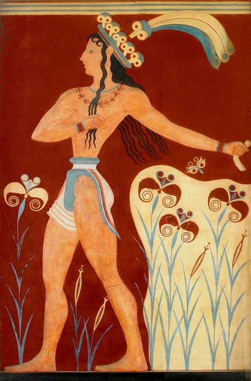 The Priest King, fresco (replica). Palace of Knossos. Crete, Greece. 1550-1440 B.C. (Late Minoan)
