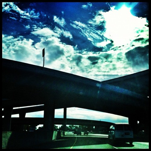 Amazing sky on the way to work #101 #igerssv #sky #cloud #overpass #freeway #california #california_igers