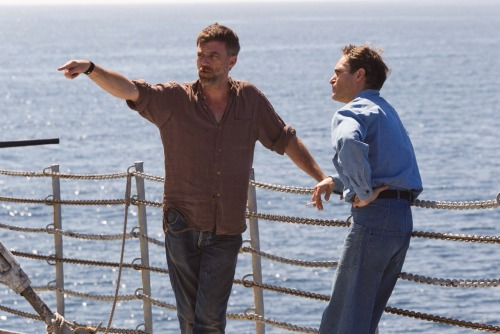 Paul Thomas Anderson with Joaquin Phoenix on the set of The Master