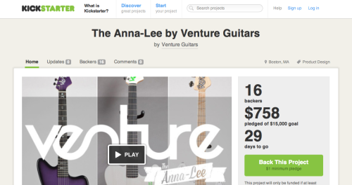 eggsbenedict:  ventureguitars:  Ladies and gentlemen. The Anna-Lee. Out first contribution to the guitar market. This guitar is not built to order. So there is no wait, you will be able to select a few different options to make it yours and boom, its yours. And of course, as with all of our guitars we build everything by hand here in our New England shop, and use only the highest quality brand components.  You can be one of the first 25 people to get your hands on an Anna Lee by pledging on our kickstarter which has launched today. Please take the time to come check it out at http://www.kickstarter.com/projects/ventureguitars/the-anna-lee-by-venture-guitars and any help will be greatly appreciated.  Check it out, and please share it. Thank you!  Check this out!