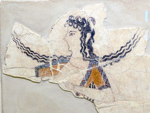 Dancing girl, fresco. Palace of Knossos. Crete, Greece. 1550-1450 B.C. (Late Minoan)