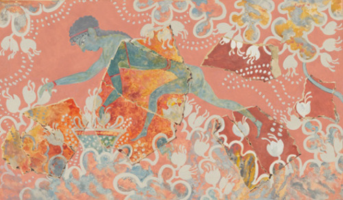 Saffron Gatherer, fresco. Erroneously re-assembled as a man by Sir Arthur Evans. It turn out, on further examination to be a blue monkey in a field of crocuses). Palace of Knossos. Crete, Greece. 1550-1450 B.C. (Late Minoan)