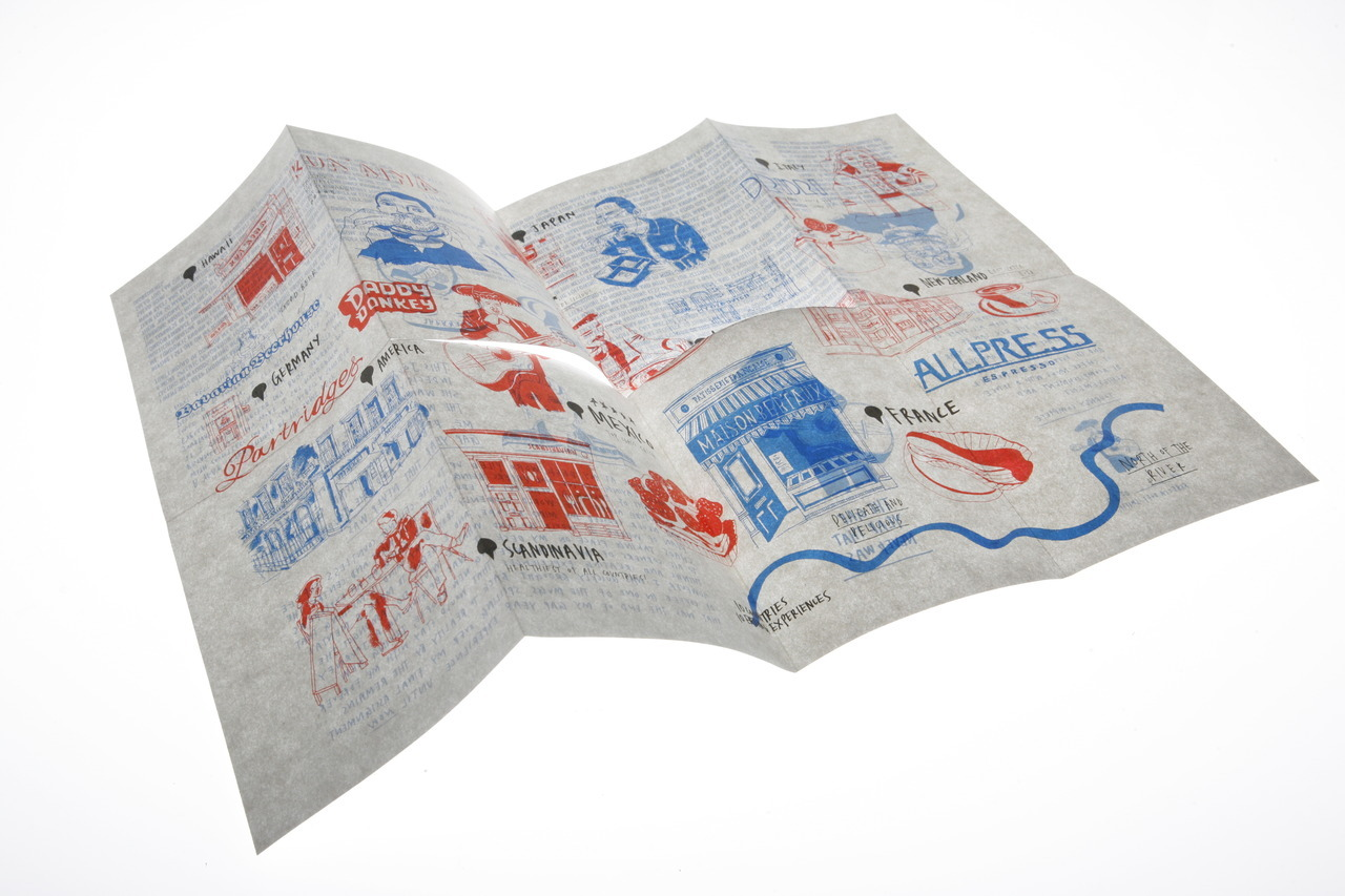 Fold out A3 risograph zine/poster/map