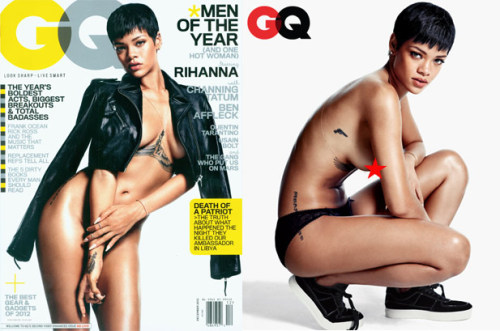 "Rihanna is nude on the new cover of GQ magazine, but it's not the first time the ""Unapologetic"" star has stripped down. See more photos of naked Rih Rih, as she bares it all for magazines, advertisements and just for fun."