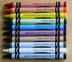 cumuluscloud:  a-black-car-pulled-up-and:  every black crayon should be named void of existential anguish black  50 shades of moral ambiguity gray  TsH