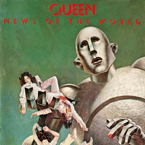 Album Cover (1977) Queen // News Of The World Queen vs. Machine.