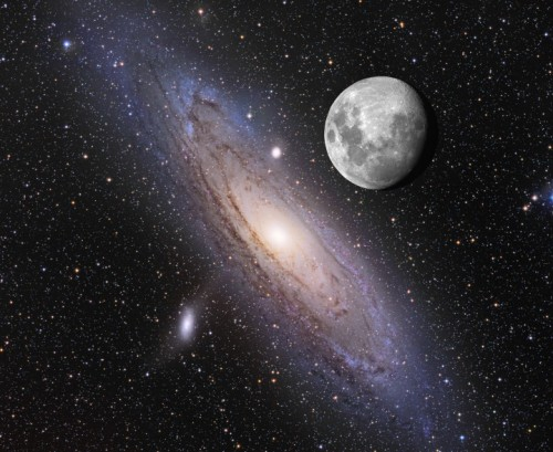 jtotheizzoe:  M31 > Moon If your eyes were sensitive enough, here's how big the M31 galaxy in Andromeda would look next to the Moon. It's our nearest galactic neighbor, but doesn't give off enough surface light to be visible from down here on Earth with the unaided eye. I'm not making this up, folks … these are Trufax™. Now go impress your friends! (via APOD)
