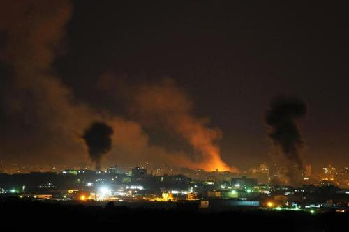 israelfacts:  Smoke rises after Israeli airstrikes in the northern Gaza Strip on November 14, 2012. Israel's latest attacks on Gaza have killed 10 people so far, as aerial and sea bombardment continue into the night. The dead include an 11-month-old baby and a seven-year-old girl. The blockaded coastal enclave has a densely packed population of about 1.5 million people living inside 140 square miles. (Photograph: Reuters / Darren Whiteside)