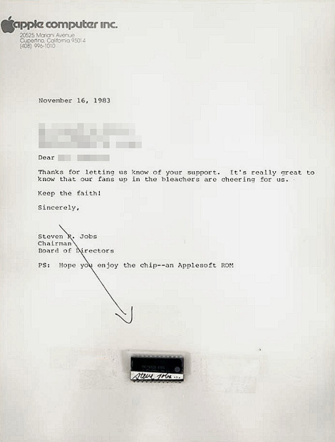 in the early days of Apple Inc, Steve Jobs would occasionally sign computer chips, attach them to Apple stationery and send them out randomly to Apple fans