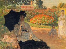 In honor of Monet, my profile picture now is Camille Monet in garden, 1873. Camille was Monet's first wife, mother of his children and until her death in 1879 one of his most often painted models.