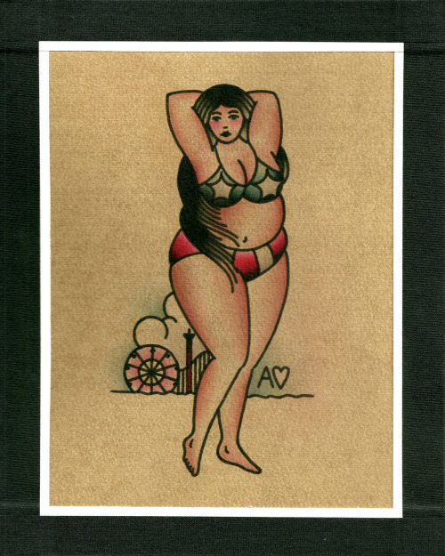 "ohashleylove:  bringbacktheboardwalks:  ""Rosie"" 8x10 Ashley Love was born and raised in Winston-Salem, North Carolina. She started tattooing in 2003, and moved to NYC in 2010, finding a home at Thicker Than Water Tattoo. She continues to refine her traditional tattooing into a style all her own.   http://www.ohashleylove.com/  there are so many amazing pieces being donated to be auctioned off… im impressed every time i see something new posted.  this is my contribution."
