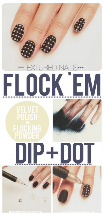 truebluemeandyou:  DIY Velvet Faux Studded Nail Art Tutorial from The Beauty Department here.