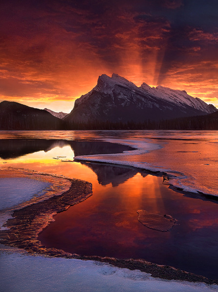 """NOVEMBER SEVENTEEN"" Banff National Park, Alberta An amazing sunrise light show outside Banff in the Canadian Rockies. Probably the most intense sunrise or sunset light I've ever seen in nature. http://www.marcadamus.com/photo.php?id=2&gallery=mountain"