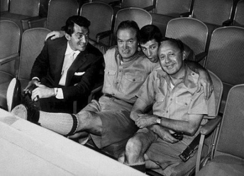 Comedians Hanging Out Together: Dean Martin, Bob Hope, Jerry Lewis & Jack Benny.