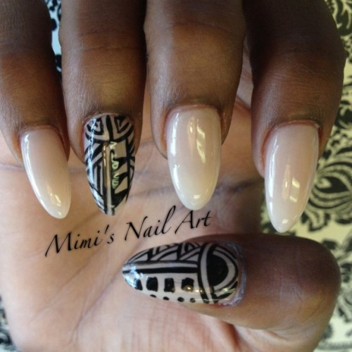 #nail #nude #nails #nailart #nailswag #nailartclub #nailartswag #naildesigns #nailartheaven #nailartoohlala #tribal #tribalnails #handpainted #freehand #mystyle #myswag #mimisnailart #cute #cutenails #fashion #funkynails #instanails #instafashion #instapic #instaswag # (at Mimi's Nail Art)