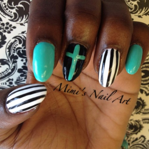 #nail #nails #nailart #nailswag #nailartclub #nailartswag #naildesigns #nailartheaven #nailartoohlala #mystyle #myswag #mimisnailart #cute #cool #cross #cutenails #prettynails #stripes #teal #handpainted #instapic #instaswag #instadaily #instafashion #instanails  (at Mimi's Nail Art)