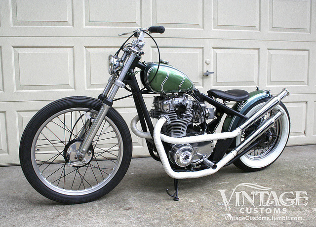 "*** FOR SALE ***  Introducing the latest XS650 from Vintage Customs. In the style of past builds such as The Royal and The Bishop comes this crisp 70's style lane-splitter. Features:One-off V.C. hardtail frame (clean FL title) with shaved forksNew P-Nut tankMistral Blue & Emerald Green paint with H.O.K. pearls overtopSatin Black frameStrong original motor upgraded with Pamco ignition & rebuilt carbsStrong charging system with solid state updated Reg./Rect.Custom built exhaust with new ""cocktail shaker"" mufflersNew leather solo seatGreen cloth covered wiring & custom harnessNew Lucas style taillight New mini 5 3/4"" halogen headlightCustom made V.C. handle bars New control levers & cables21"" front wheel with new brakes and new Avon Speedmaster tire16"" rear wheel with new brakes and new Classic 5.10 whitewall tireLots of the usual Vintage Customs detail! Contact Jay at:vintage.customs@yahoo.com386-747-0536"