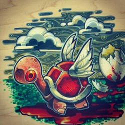 Life will find a way. Acrylic on wood. #nintendo. #mario #wood  #iam8bit  #illustration  #timshumate  #timshumateillustrations