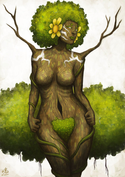 ry-spirit:  Goddess of Earth. I gave her a big bush. Drawn by the kid with the top hat. Ry-Spirit