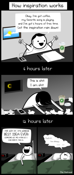 oatmeal:  How inspiration works.  Read the rest of the comic here: http://theoatmeal.com/comics/making_things  so true