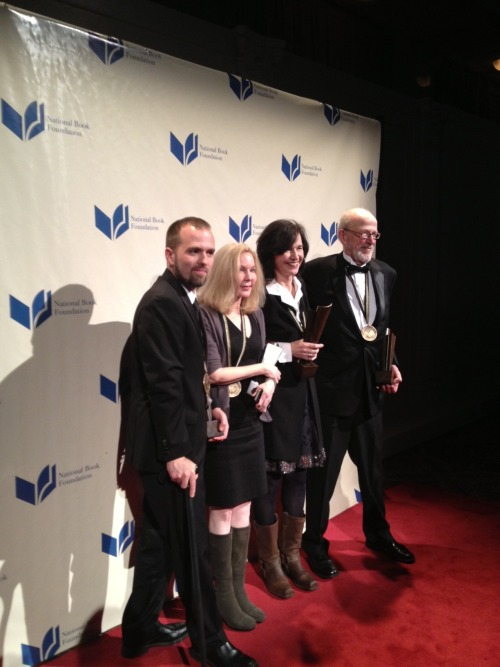 nationalbook:  2012 NATIONAL BOOK AWARD WINNERS: Young Peoples Literature:  William Alexander, Goblin Secrets  (Margaret K. McElderry Books, an imprint of Simon & Schuster Children's Publishing) Poetry:  David Ferry, Bewilderment: New Poems and Translations (University of Chicago Press) Nonfiction: Katherine Boo, Behind the Beautiful Forevers: Life, Death, and Hope in a Mumbai Undercity  (Random House)  Fiction: Louise Erdrich, The Round House (Harper, an imprint of HarperCollinsPublishers) Details from the evening here.  Okay, among many other things to envy about Katherine Boo and Louise Erdrich, I really want their boots.