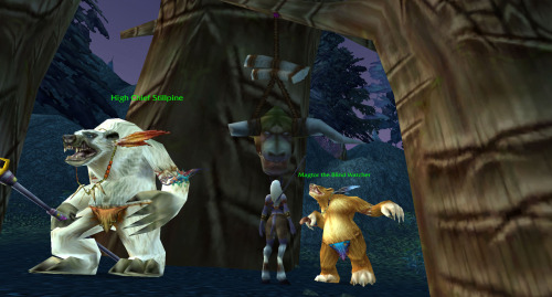 jabberjack:  So uh… I never noticed the GIANT DEAD TAUREN HEAD hanging here before.  #I wonder if it gets a christmas hat during winter veil.