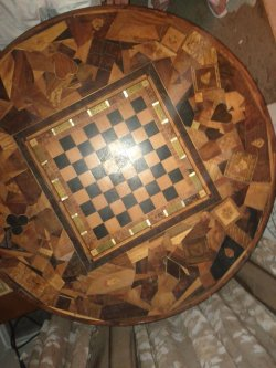 Custom card table with secret compartment under chessboard