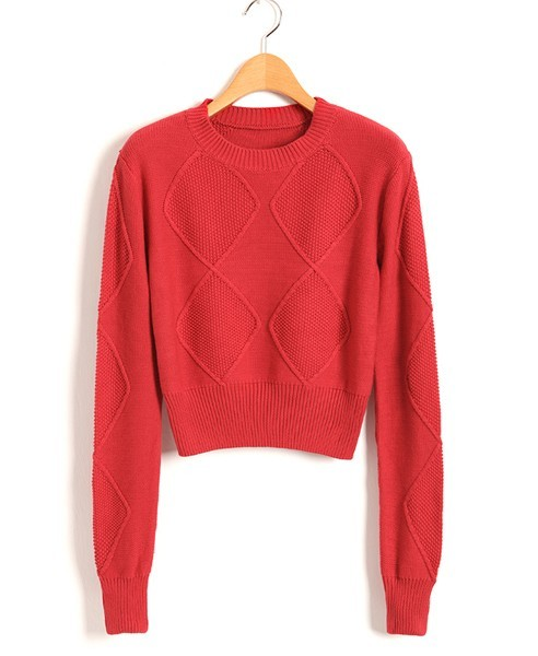chicnova:  For Knitwear Collection: Red Diamond Knit Jumper