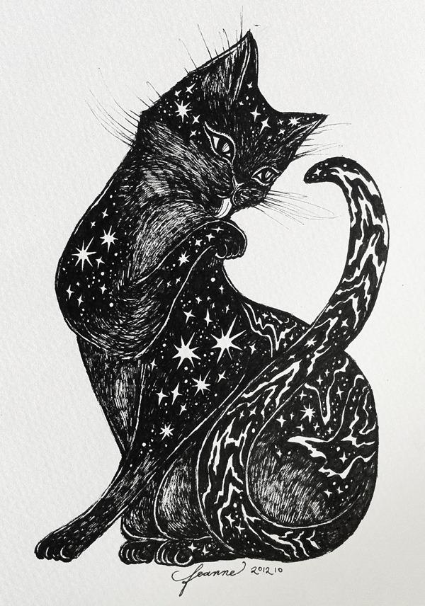 "Cosmic Kitten drawing! For sale at the CARA Pet Project Fundraiser for the benefit of our furry friends. CARA stands for ""Compassion and Responsibility for Animals"". =^.^=  Please also check out the gorgeous artworks of my lovely talented artist friends Katrina Pallon and Valerie Chua who are also joining this special exhibit on Saturday!  ♥ Feanne / facebook / blog"