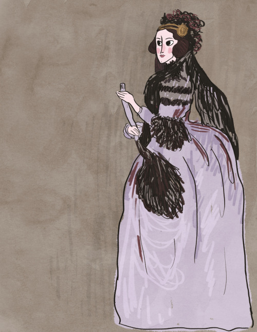 "fearsomeladies:  11/14/12 Ada Lovelace ""An English mathematician and writer chiefly known for her work on Charles Babbage's early mechanical general-purpose computer, the analytical engine. Her notes on the engine include what is recognized as the first algorithm intended to be processed by a machine; thanks to this, she is sometimes considered the world's first computer programmer."""