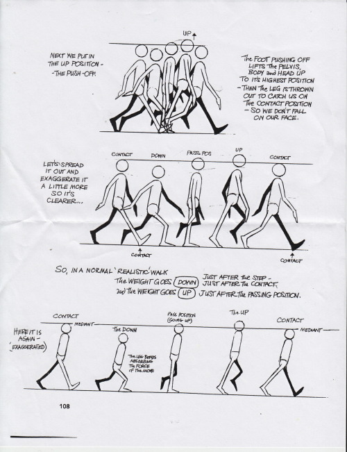 kara-tails:  Page out of the Animator's Survival guide, by Richard Williams My teachers praise this heavy book to high heaven, and most of our exercises come from it. This one is featuring a walk cycle. A normal animated walk cycle uses 4 distinct poses, with another 4 in-betweens. If you are considering animation, you cant go wrong with this book
