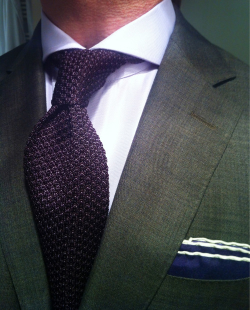thesnobreport:  WIWT Brown Suit by Suitsupply, MTM Lilac Emanuel Berg shirt fitted by Lowet Tailors, Tom Ford purple knitted tie & silk square   Love these knitted ties