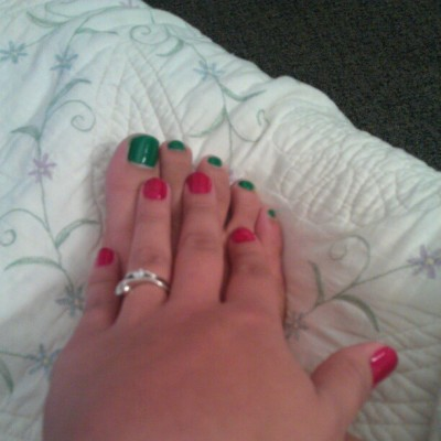 Christmas colors lol hands and feet, how did this happen?
