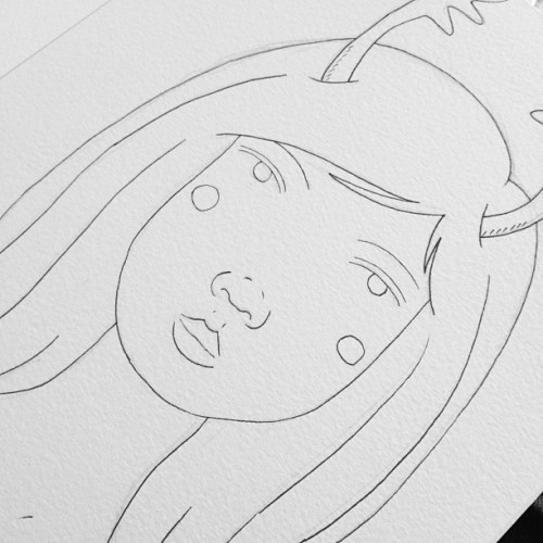 Working on a little #christmas #illustration  #drawing #portrait #pen #pencil #girl #reindeer