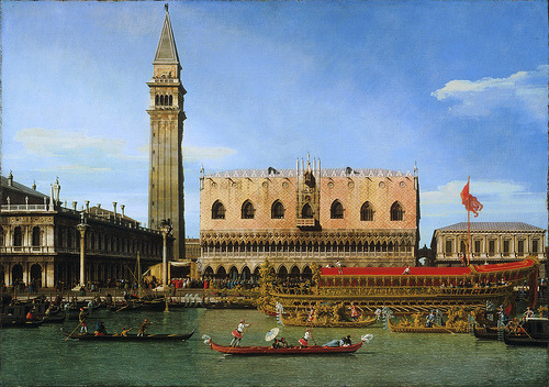 classic-art:  The Bucintoro at the Molo on Ascension Day Canaletto