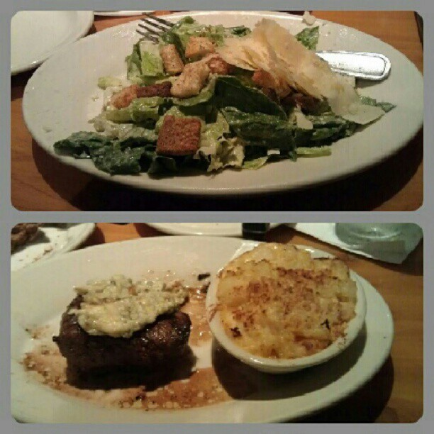 #dinner #Caesarsalad and #filetmignon with #augratinpotato