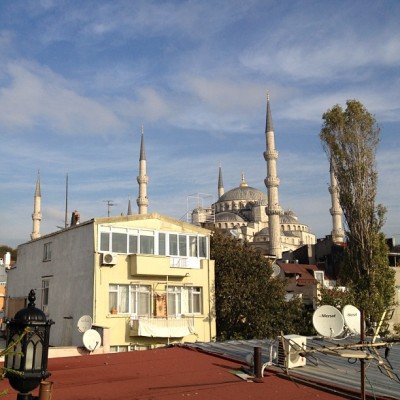 View of the Blue Mosque from my hotel (at Dersaadet Hotel Istanbul)