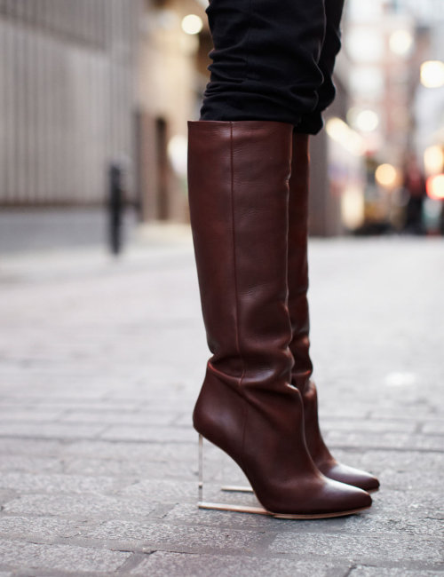 mirnah:  Maison Martin Margiela with H&M plexi wedge leather knee-high boots