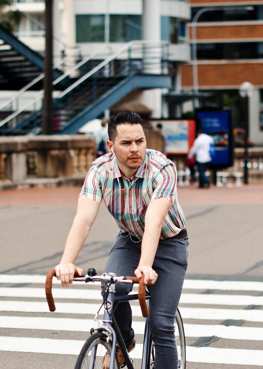 Modern cycle. Similar look: ASOS Oxford Stripe Shirt.