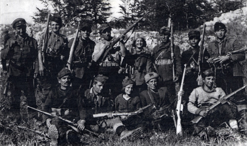 "Macedonian partisans of the ""Damyan Gruev"" detachment. Macedonia, May 01, 1943. Courtesy of the Holocaust Memorial Museum."