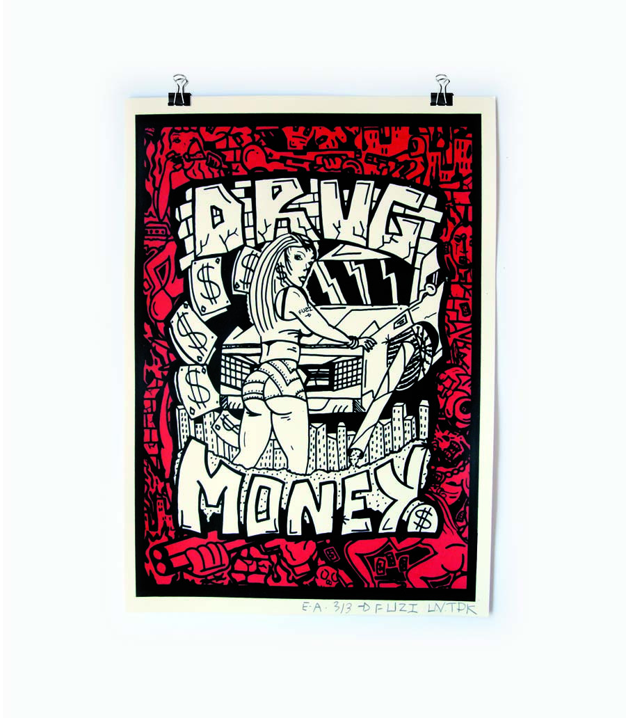 DRUG & MONEY Art FUZI UVTPK Série de 50 ex 2 couleurs Dispo içi http://www.fuzi-uvtpk.com/fr/edition/drug-money-detail.html