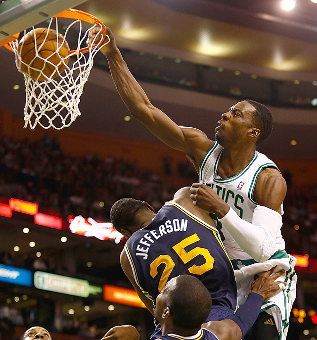 Jeff Green dunks over Al Jefferson and Paul Millsap during Wednesday's Celtics-Jazz game. Boston won 98-93. (Jared Wickerham/Getty Images) VIDEO: Watch Green's amazing dunk