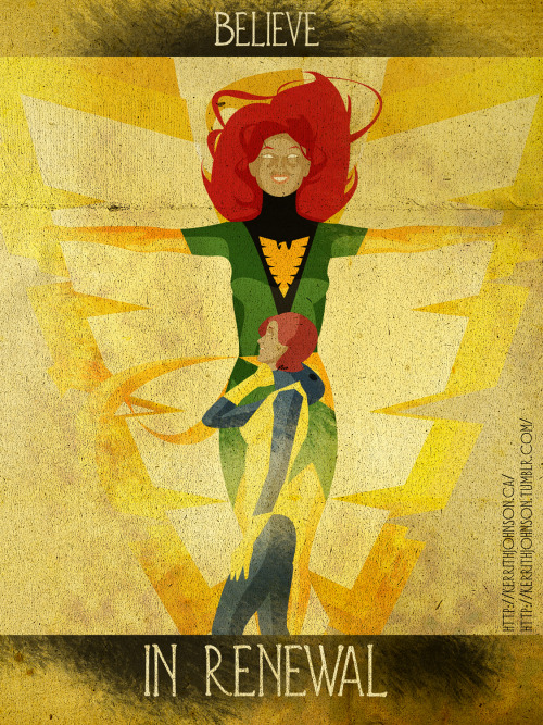 """Believe"" series: Keeping Heroes iconic but positive. Spotlight: Phoenix! Jean's been kinda always a positive character I think, even when she became 'dark' it was her love which brought her back. (I know not Jean clone etc…bah bah..point still stands! ;) )  I like the contrast between her old uniform and the revival as the phoenix. Kinda fun. Kerrith - Always comes back! (In a pod found underwater by Mr.Fantastic…)  My Tumblr