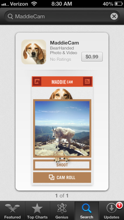 Morning ya'll! Look who is in the iOS App Store! #MaddieCam! The reason we built this App is to support the Spring 2013 book tour. We are gonna visit 48 states! The real value of these social communities is building relationships offline. I want to come meet ya'll! We can go adventures, play with dogs, break bread and maybe even drink a beer.  Hopefully ya'll agree this is a fun and lighthearted way to help get us on the road. The book stores and other dates we'll be at across the US will be announced in January. Stay tuned!  https://itunes.apple.com/us/app/maddiecam/id574053498?mt=8